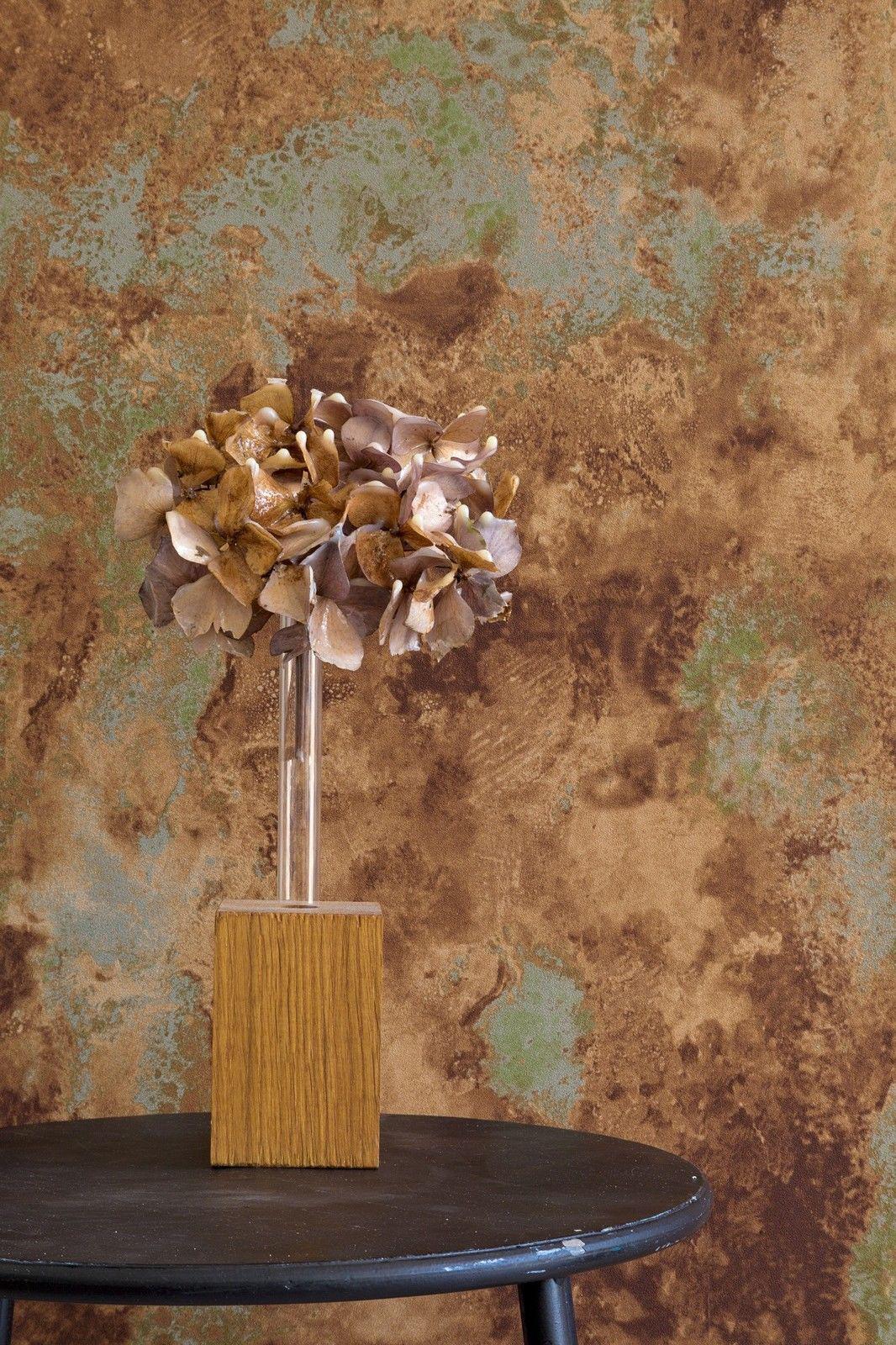 vlies tapete patina steinwand spachtel optik terra rost anthrazit oliv beige kaufen bei. Black Bedroom Furniture Sets. Home Design Ideas