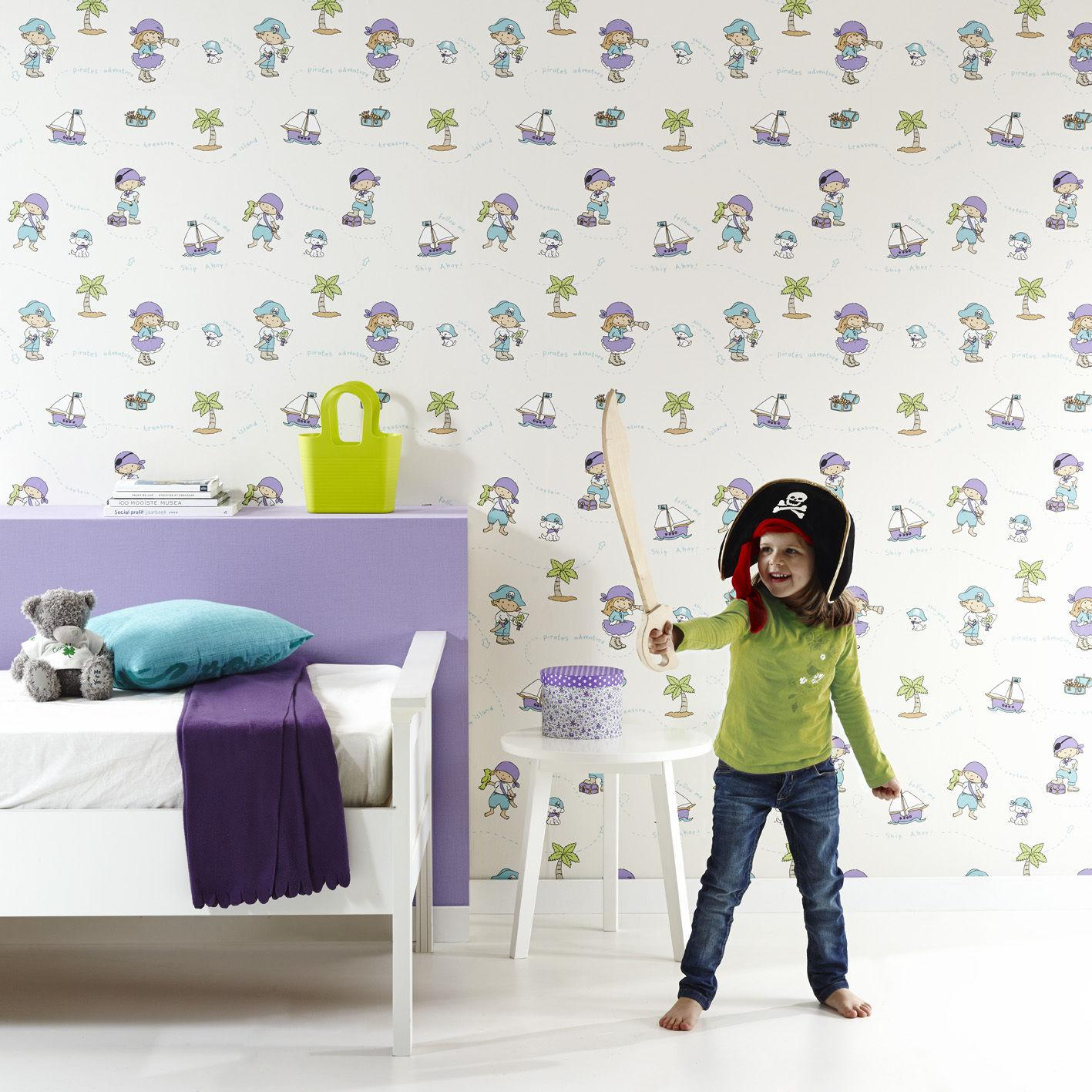 vlies tapete piraten kinder zimmer schiff insel schatzkiste blau kinderzimmer kaufen bei. Black Bedroom Furniture Sets. Home Design Ideas
