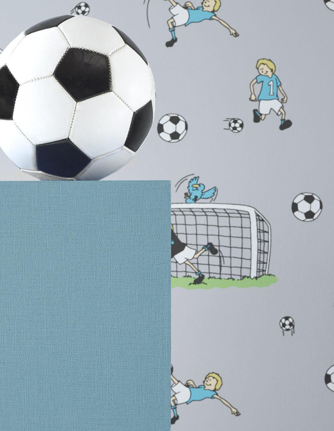vlies tapete fußball kinder / jungen zimmer fussball tapete grau