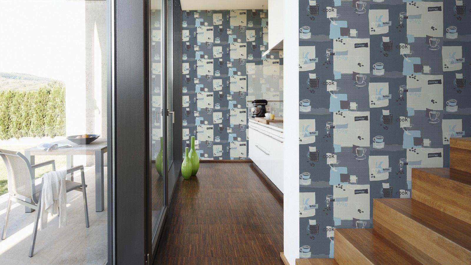 Vinyl Küchen Tapete blau weiß creme Coffee Kaffeetassen 30089-1 AS ...