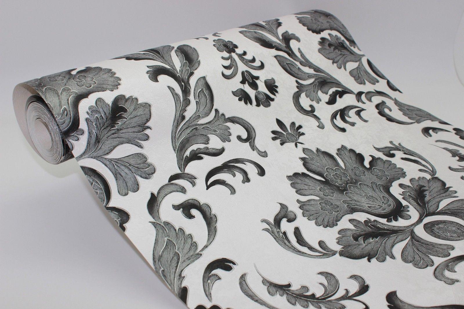 Barock Papier Präge Tapete klassisches Ornament schwarz weiß ...