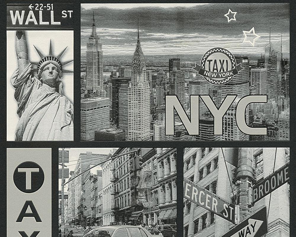 vinyl tapete new york stadtmotiv taxi wallstreet silber grau city nyc wallpaper kaufen bei. Black Bedroom Furniture Sets. Home Design Ideas