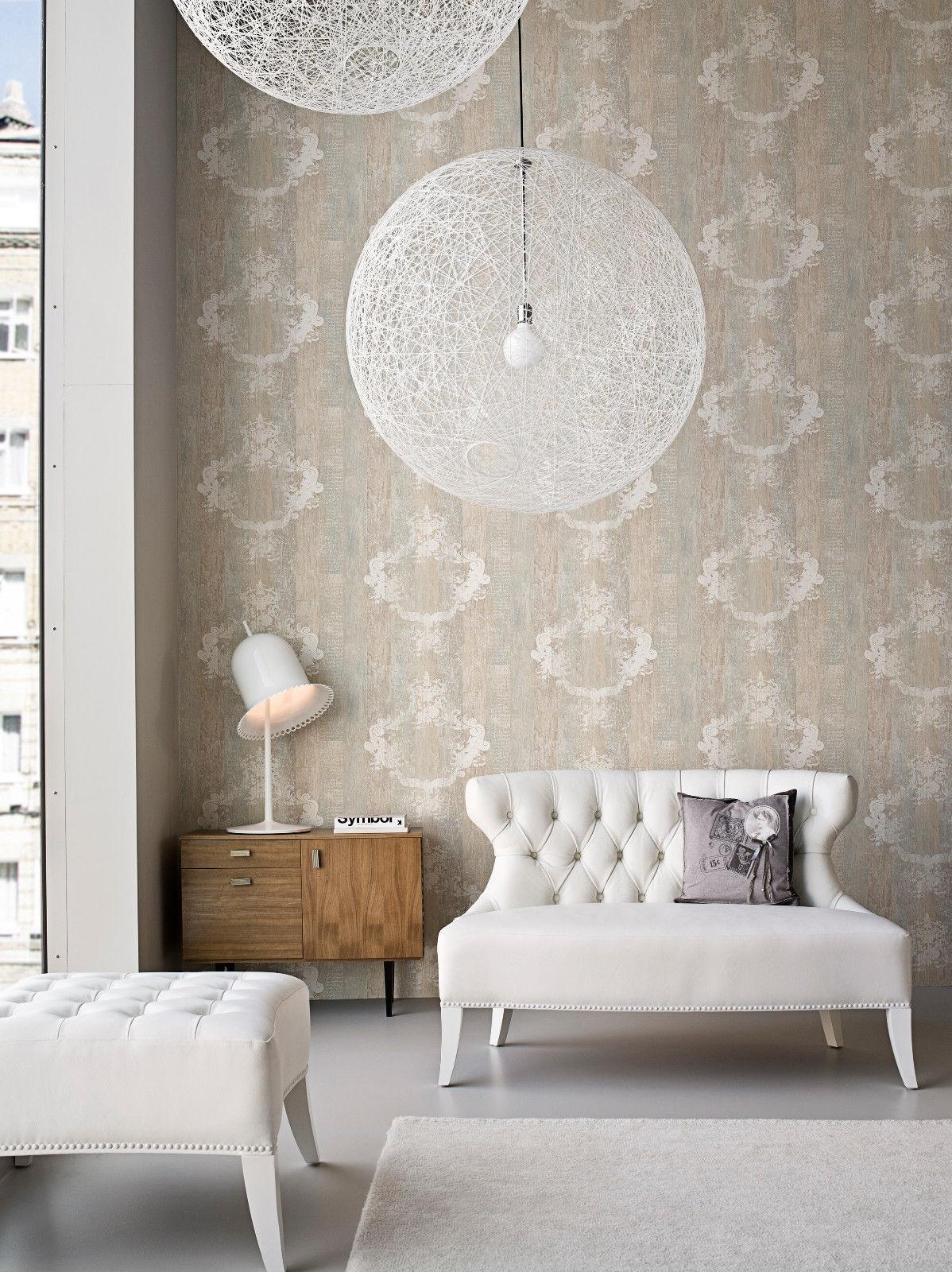 vlies tapete antik holz muster ornament barock braun grau. Black Bedroom Furniture Sets. Home Design Ideas