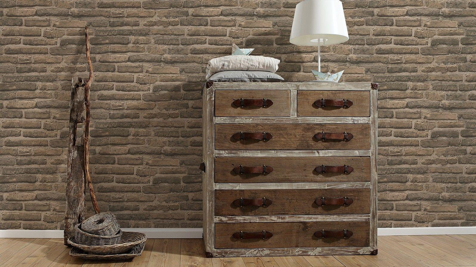 vlies tapete stein wand ziegelstein backstein klinker optik braun grau 30747 2 kaufen bei. Black Bedroom Furniture Sets. Home Design Ideas