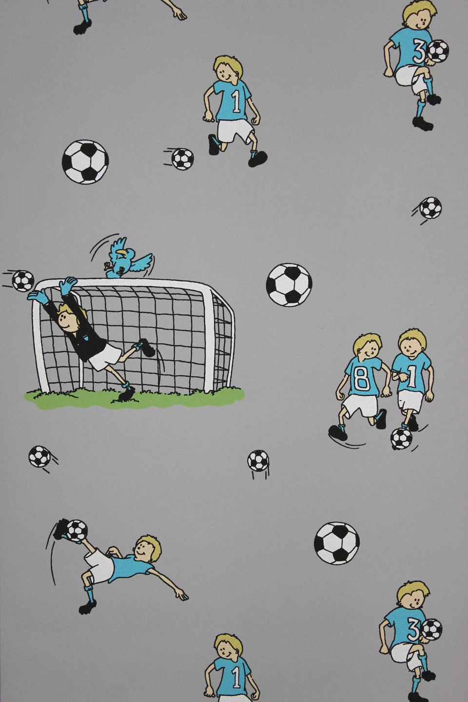 Vlies Tapete Fußball Kinder / Jungen Zimmer Fussball Tapete grau ...