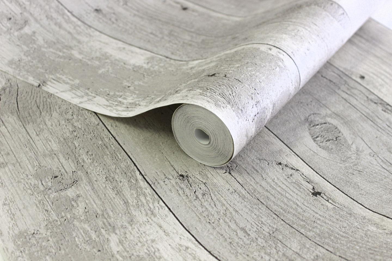 Vlies tapete antik holz rustikal verwittert creme grau for Tapete petrol grau
