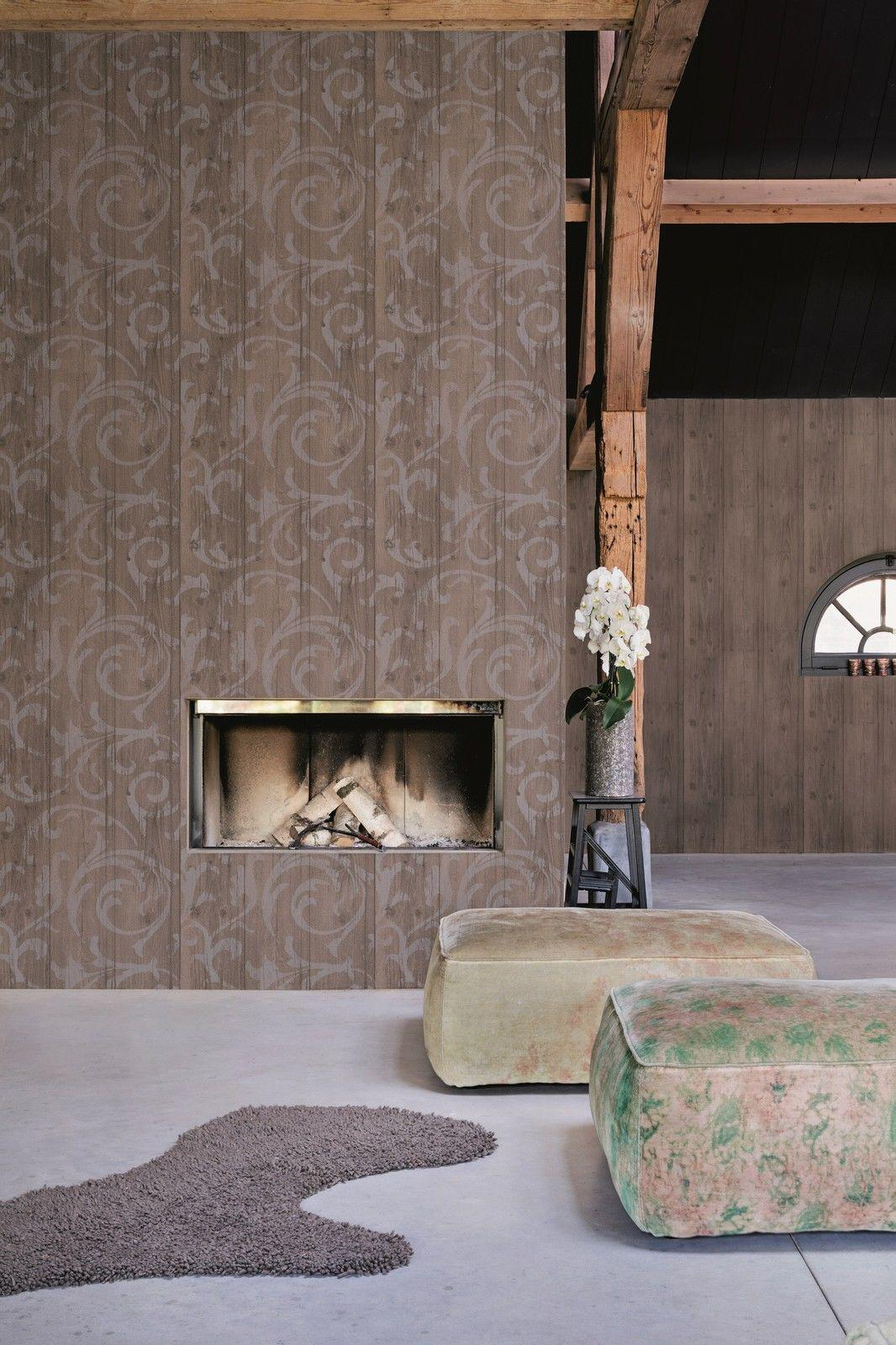 vlies tapete antik holz rustikal ornament muster barock grau beige braun grau kaufen bei. Black Bedroom Furniture Sets. Home Design Ideas