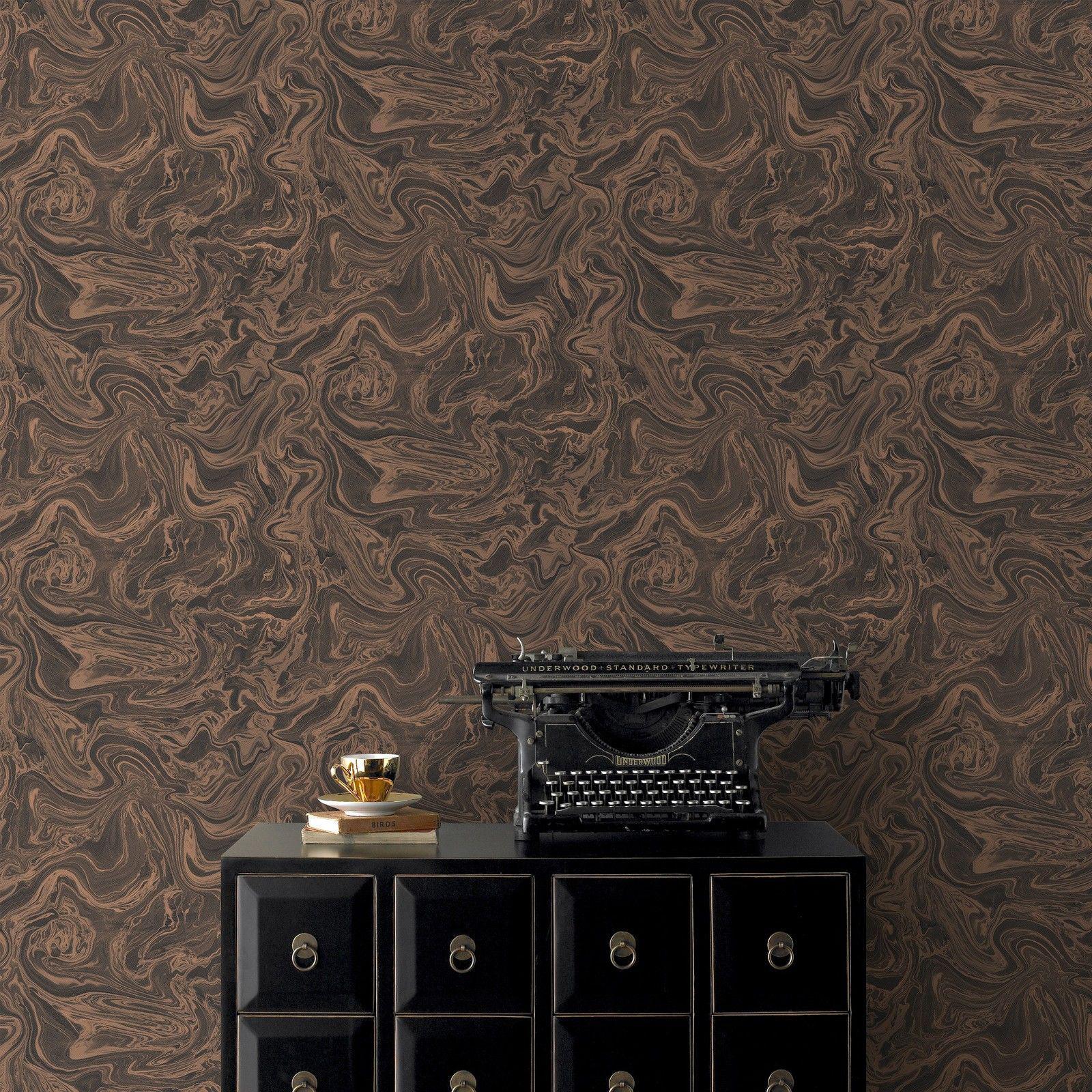 Textil Tapeten Eigenschaften : Vlies Tapete Marmor Textil Optik schwarz braun bronze metallic100538