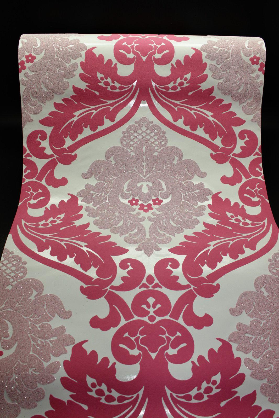Vlies Tapete Barock Muster Ornament pink weiß glitzer effekt ...