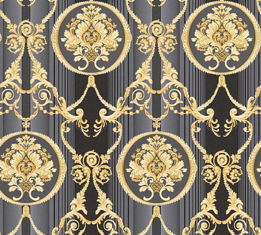 Luxus vlies tapete barock muster ornament schwarz gold - Tapete schwarz gold ...