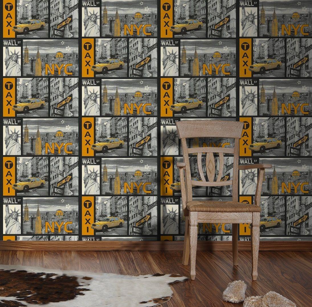 vinyl tapete new york stadtmotiv taxi wallstreet grau gelb. Black Bedroom Furniture Sets. Home Design Ideas
