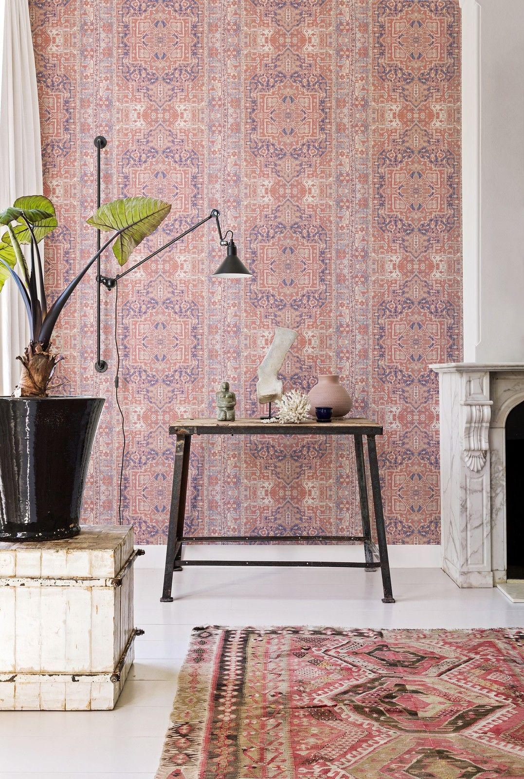 vlies tapete orientalisches wandteppich muster rose rot ethno look 218034 kaufen bei joratrend. Black Bedroom Furniture Sets. Home Design Ideas