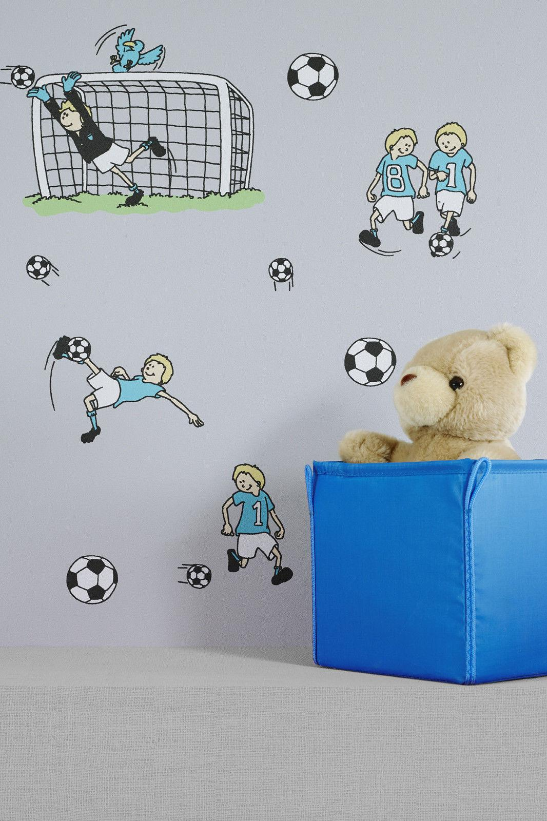 vlies tapete fu ball kinder jungen zimmer fussball tapete grau t rkis gr n kaufen bei. Black Bedroom Furniture Sets. Home Design Ideas