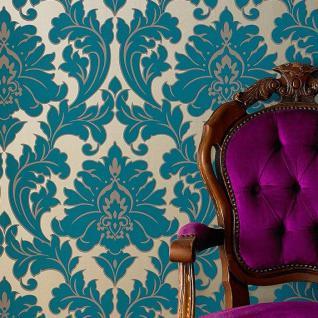 Vlies Tapete Barock Muster Ornament metallic effekt türkis petrol gold klassisch