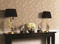 Hochwertige Vliestapete florales Ranken Muster taupe gold metallic OB1003-4