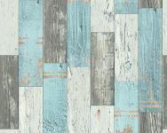 Vinyl Tapete Antik Holz rustikal türkis beige braun bretter verwittert 96246-1