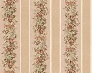 Vinyl Tapete Streifen Floral Blumen Muster beige rot landhaus 95929-1 blümchen