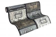 Vliestapete Stahlkisten Metall Schubkästen Vintage blau grau creme weiß 30675-1