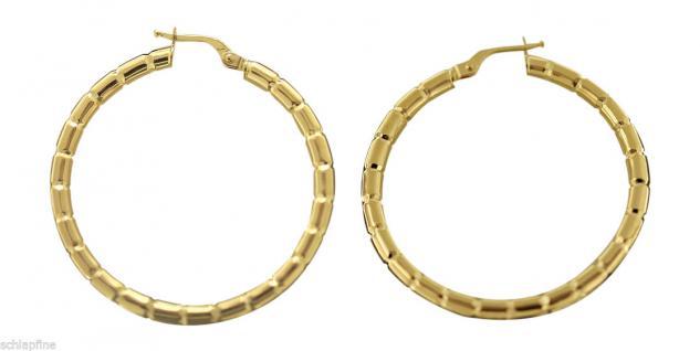 3, 6 cm GROSSE CREOLEN GOLD 585 OHRRINGE - GOLDCREOLEN MIT MUSTER - CREOLE