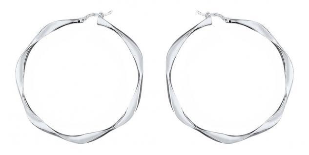 5, 7 cm große gedrehte Creolen Silber 925 Ohrringe Sterlingsilber Silbercreolen