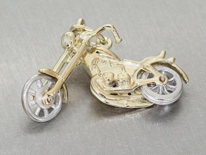 VON PRIVAT !! CHOPPER ANHÄNGER GOLD 585 AMERICAN BIKE MOTORRAD GOLDANHÄNGER