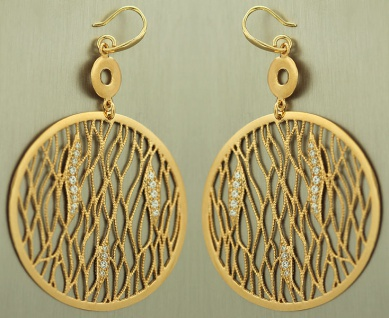 Große runde Ohrhänger Silber 925 vergoldet mit Zirkonias Ohrringe Silber Gold