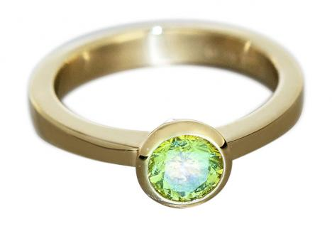 Solitärring Gold 750 mit Brillant 0, 60 ct. Yellow fancy green Goldring Damenring