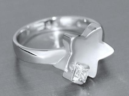 Reizender Ring Weißgold 585 Weißgoldring Stern mit Zirkonia Damenring Gold 14 kt