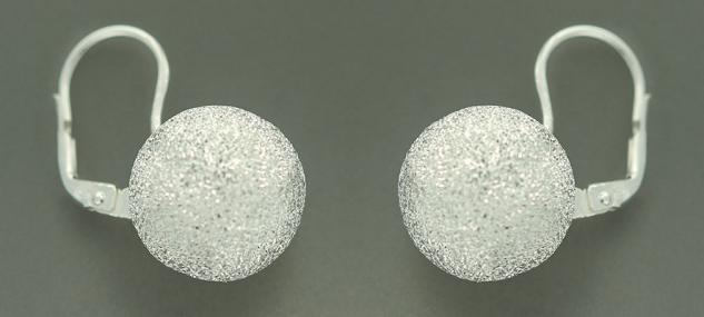 16 mm große Kugeln - Ohrringe echt Silber 925 diamantiert Silberohrhänger Kugel