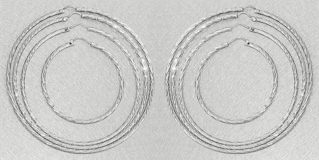 4 / 6, 6 / 7, 2 cm große Creolen Silber 925 funkelnd geschliffen feine Ohrringe