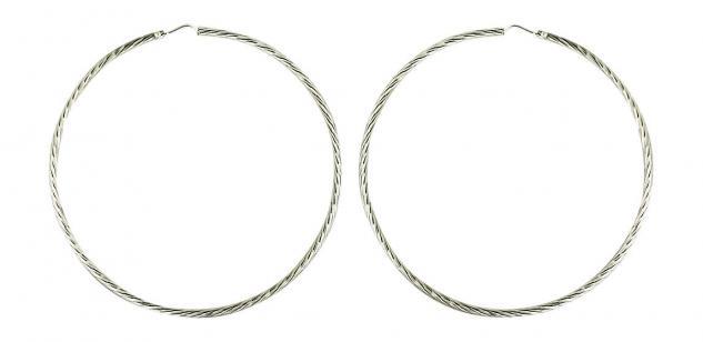 7, 3 cm - sehr große Creolen Ohrringe 925 - funkelnd geschliffen - Silbercreolen
