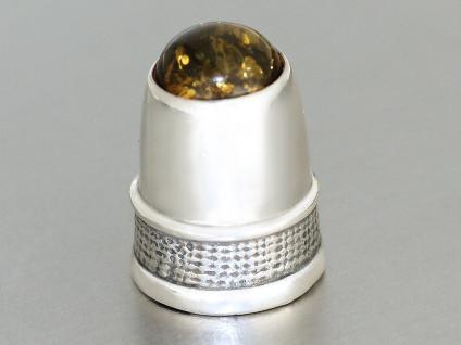 Massiver Fingerhut in Silber 925 mit Bernstein Cabochon - verzierter Fingerhut