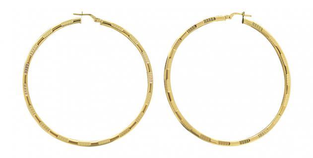 5, 4 cm große Creolen Gold 585 - Ohrringe - Goldcreolen mit Muster - Goldcreole