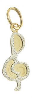 Notenschlüssel - Anhänger Zweifarbengold 585 - zauberhafter kleiner Goldanhänger