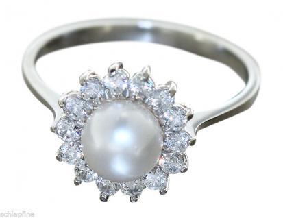 Eleganter Perlenring Weißgold 585 mit Zirkonias Ring Weißgoldring 14 kt m. Perle
