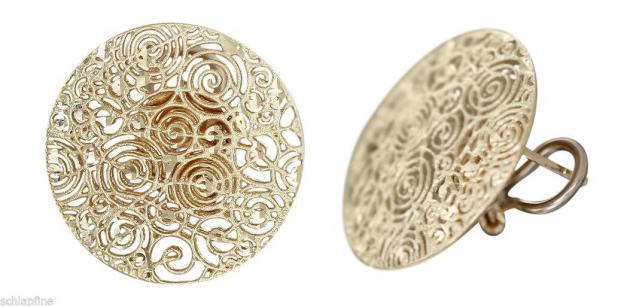 Große runde Ohrclips Gold 585 - super Design Ohrstecker Ohrringe 14 kt Gold