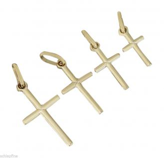 Kleines Goldkreuz 585 glattes Kreuz Anhänger Gold 14 Kt Goldanhänger vier Größen