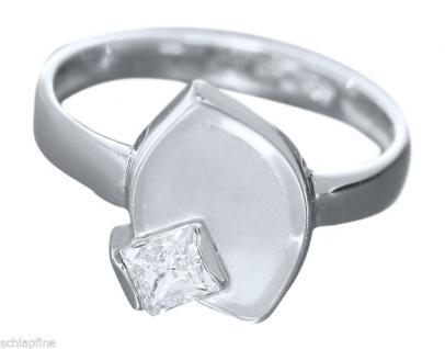 Modischer Ring Weißgold 585 Blatt mit Zirkonia Weißgoldring Damenring 14 Kt.