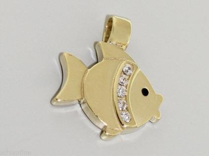 FISCH ANHÄNGER GOLD 585 MIT ZIRKONIAS GOLDANHÄNGER FISCHLEIN GOLDFISCH 14 KT