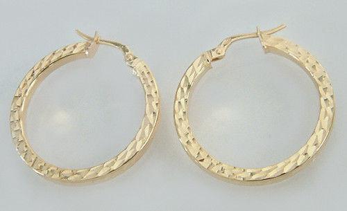 Facettierte große Creolen in Gold 585 Ohrringe Ohrschmuck Ohrhänger Goldohrringe