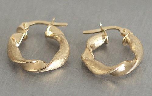 Kleine Creolen Gold 585 - große Optik - Ohrringe Gold Goldcreolen matt glänzend