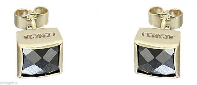 GROSSE QUADRATE - OHRSTECKER GOLD 585 MIT ONYX - GOLDOHRSTECKER - OHRRINGE 14 KT