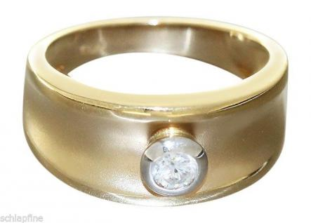 Breiter Goldring 585 Brillantring 0, 22 ct. - Solitärring - Ring Gold - Damenring