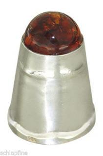 Massiver schwerer Fingerhut Silber 925 mit Bernstein Cabochon - Sammelstück