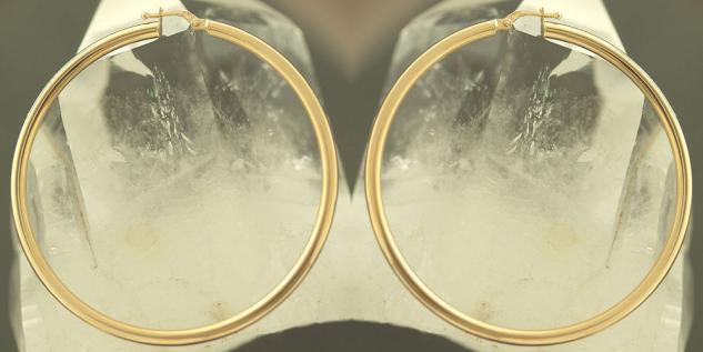 5, 6 cm GROSSE CREOLEN GOLD 585 OHRRINGE - GOLDCREOLEN - CREOLE - GLATT