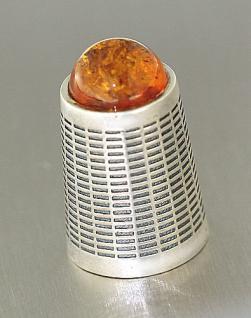 Fingerhut Silber 925 massiv mit Bernstein Cabochon - Silberfingerhut zum Sammeln