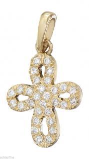 Goldkreuz 585 mit Zirkonia Goldanhänger kleines Kreuz schöner Anhänger Gold 14kt