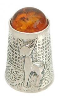 Fingerhut Bambi in Silber 925 mit Bernstein zum Sammeln - Silberfingerhut massiv