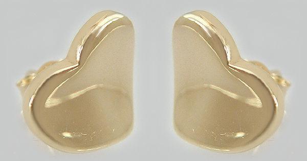 Große Herzen - Ohrstecker Gold 585 Ohrringe Herz 14kt Goldohrstecker Ohrschmuck