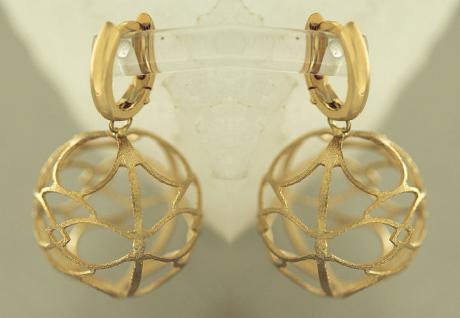 Große Kugel Ohrhänger Gold 585 - Ohrringe mit Kugeln - Designer Goldohrhänger